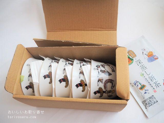 宇治田原製茶場のねこ柄缶緑茶とねこ柄煎茶椀